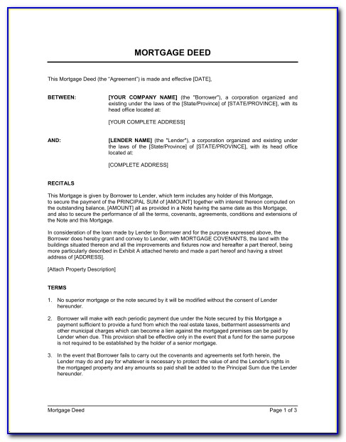 Free Mortgage Document Template