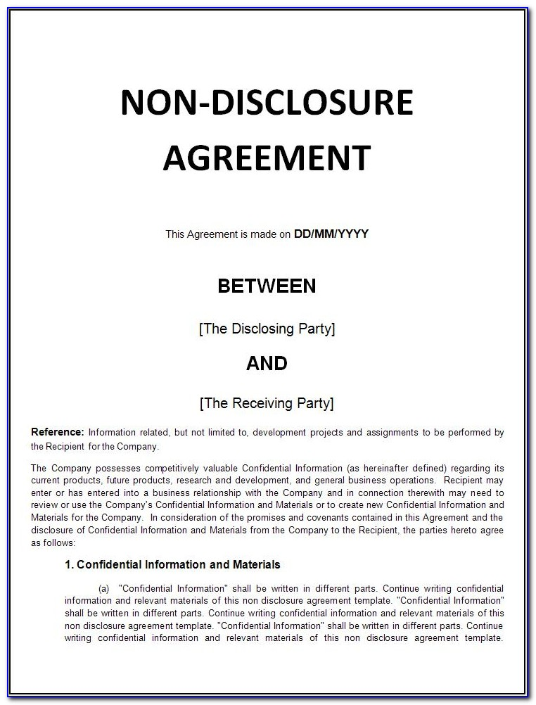Free Non Disclosure Agreement Nda Template