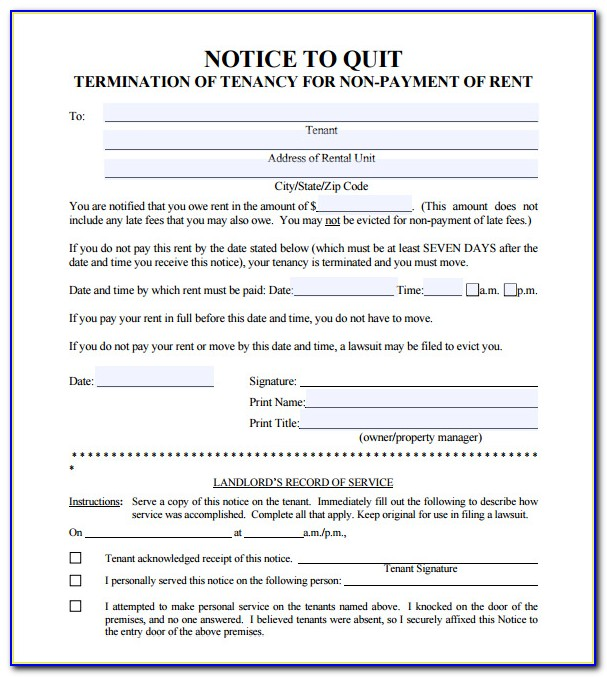 Free Notice To Quit Template Uk