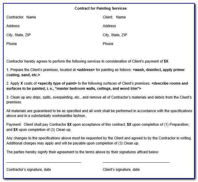 Free Painting Contractor Bid Forms
