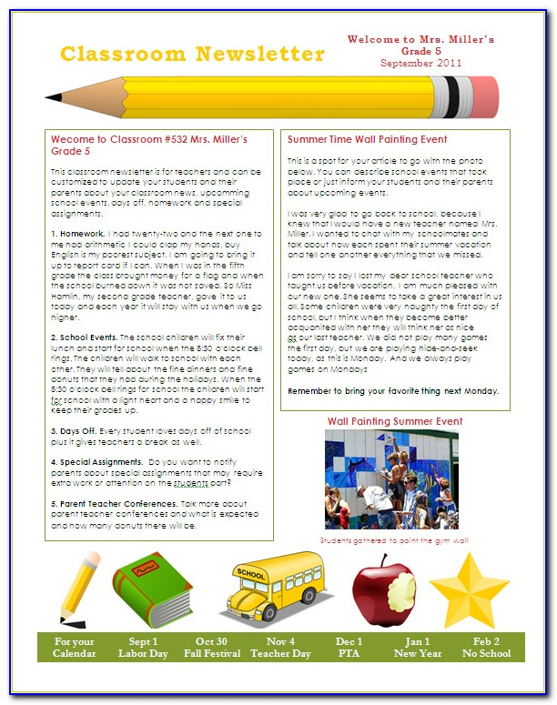 Free Preschool Newsletter Templates For Word