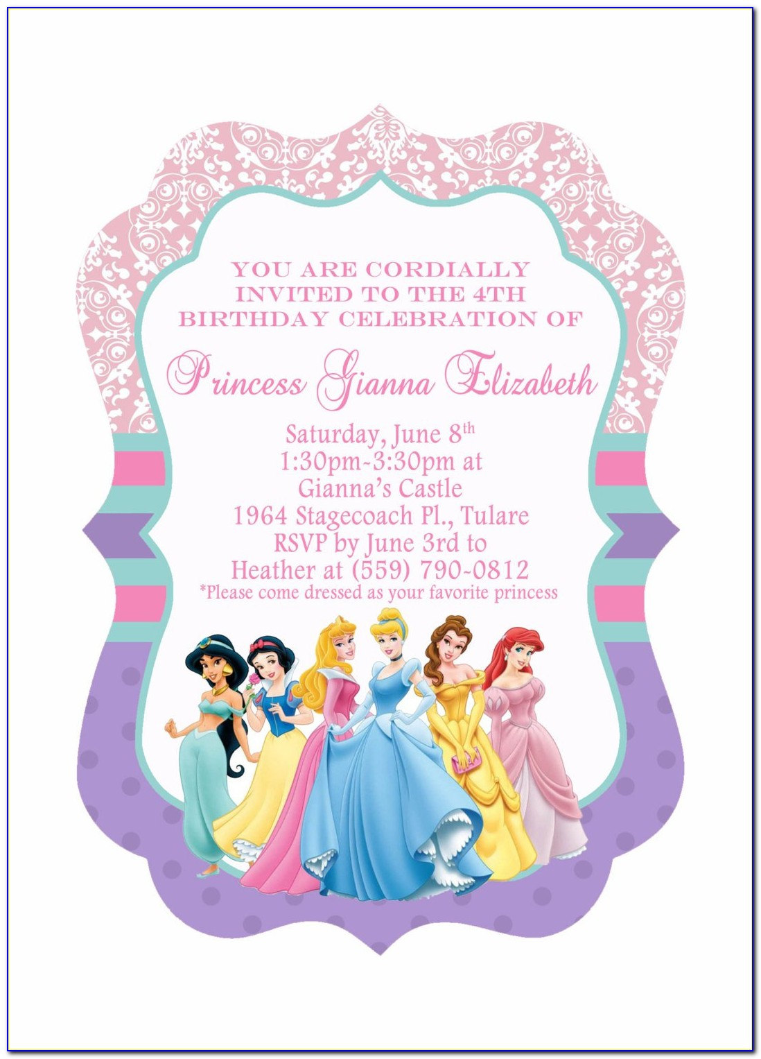 Free Princess Birthday Invitation Templates