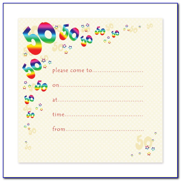 Free Printable 50th Birthday Party Invitation Templates