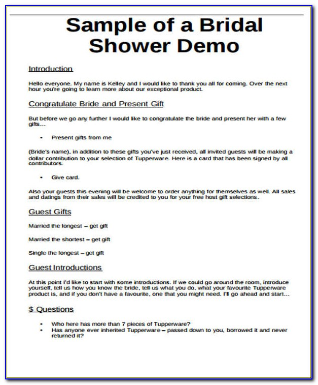 Free Printable Bridal Shower Program Template