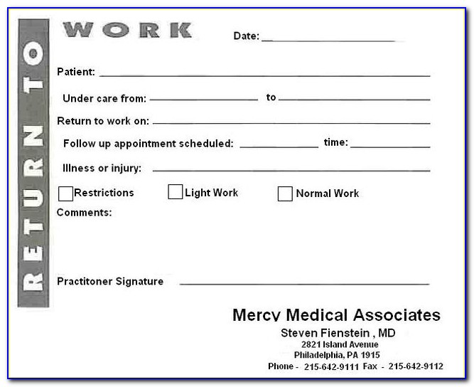 Free Printable Fake Doctors Note Template