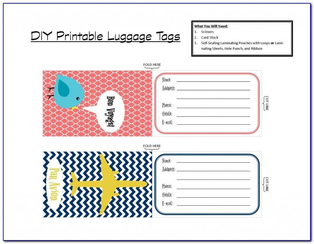 Free Printable Luggage Tag Templates
