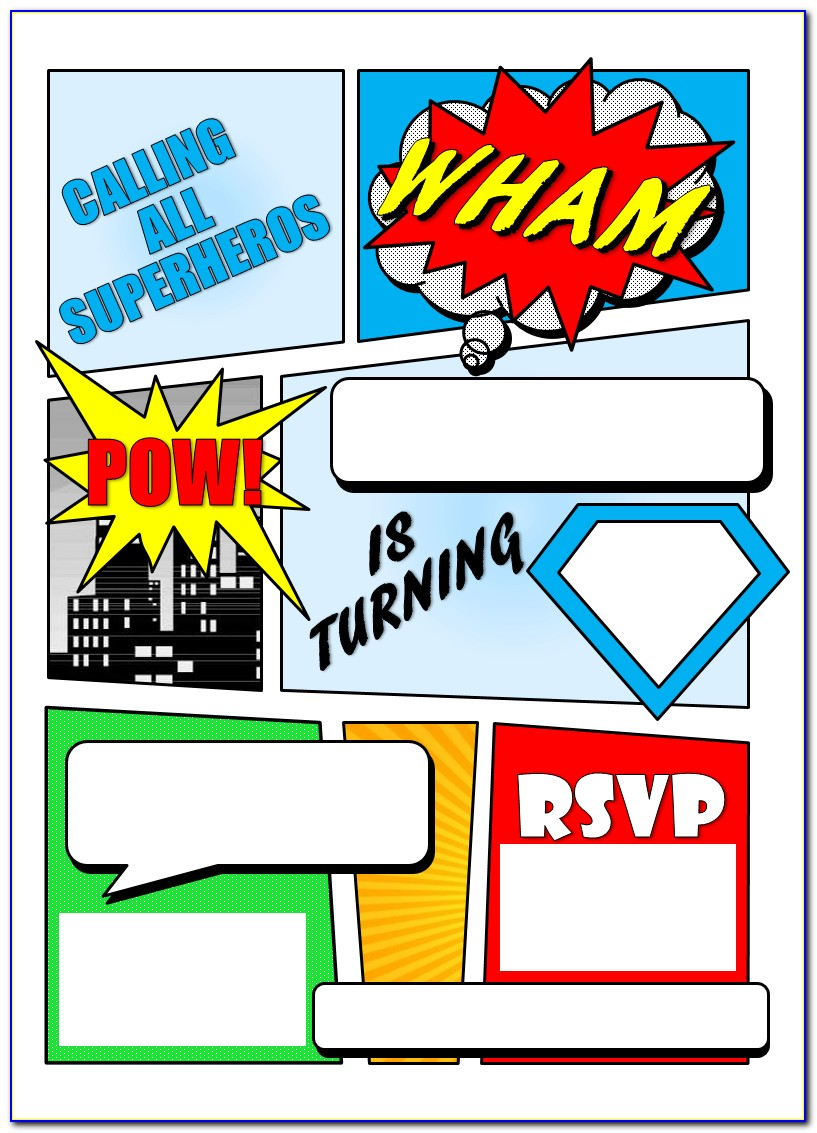 Free Printable Superhero Birthday Invitations Templates