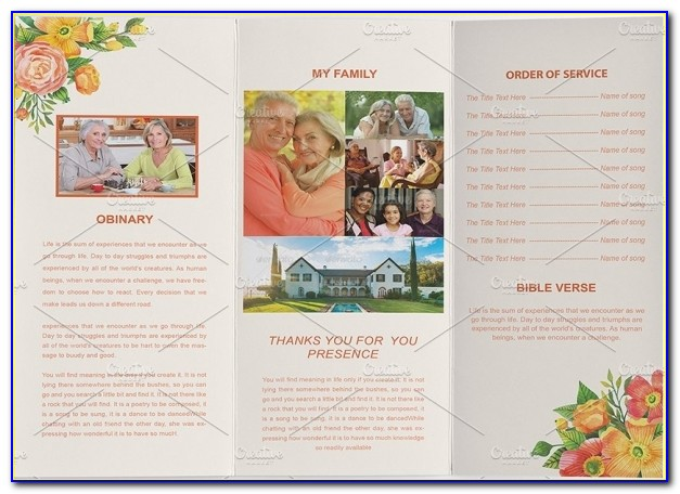 Free Printable Tri Fold Funeral Program Template