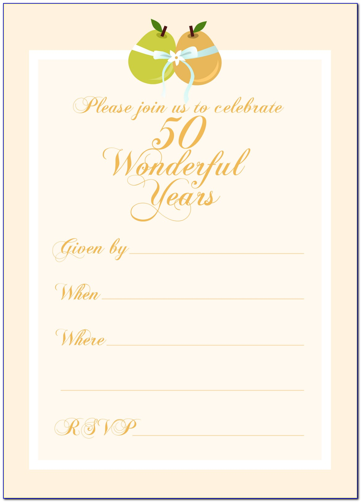 Free Printable Wedding Anniversary Invitation Templates