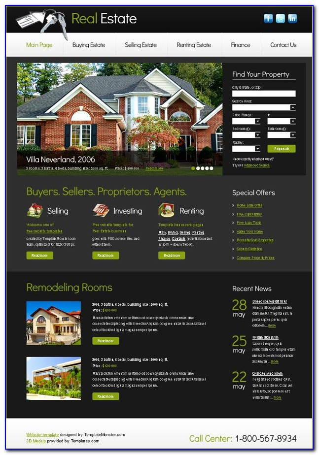 Free Real Estate Websites Templates