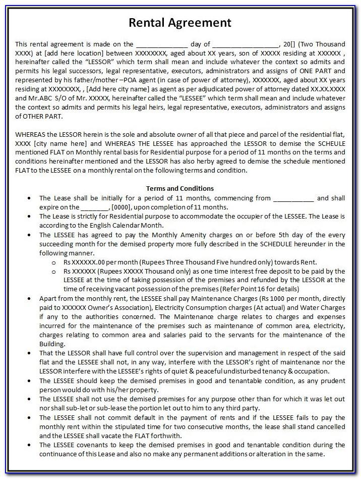Free Rental Agreements Printable