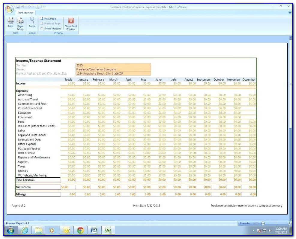 Free Rental Property Income Statement Template