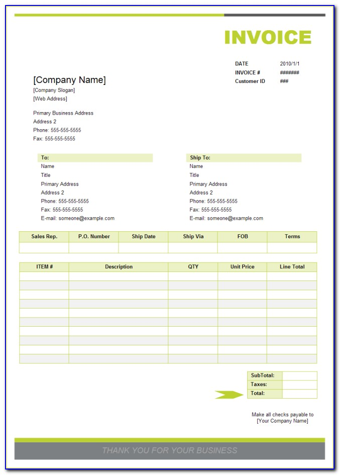 Free Sales Invoice Template For Openoffice