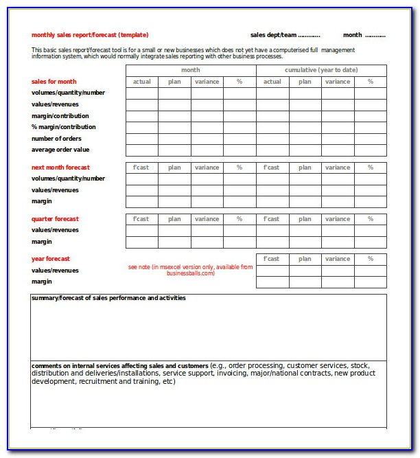 Free Sales Report Format