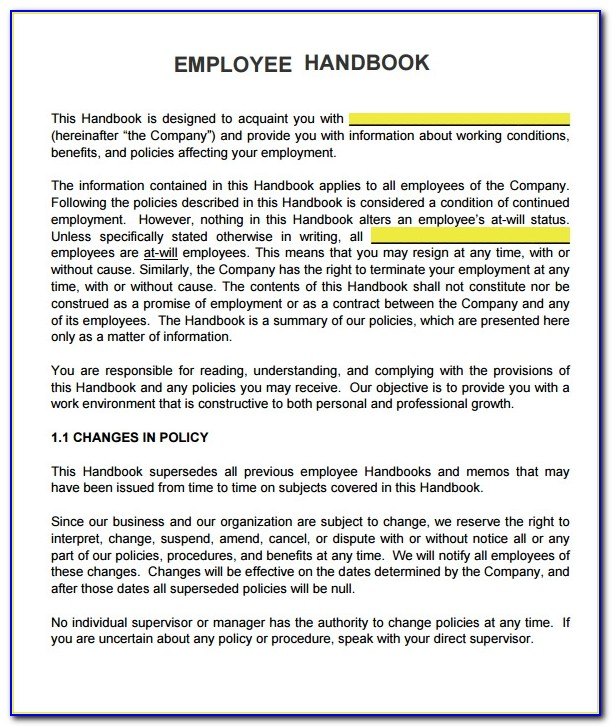 Free Sample Employee Handbook Template Ireland