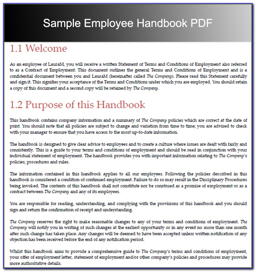 Free Sample Employee Handbook Template Singapore