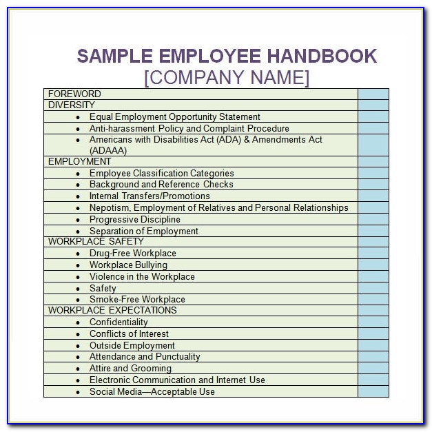 Free Sample Employee Handbook Template Uk
