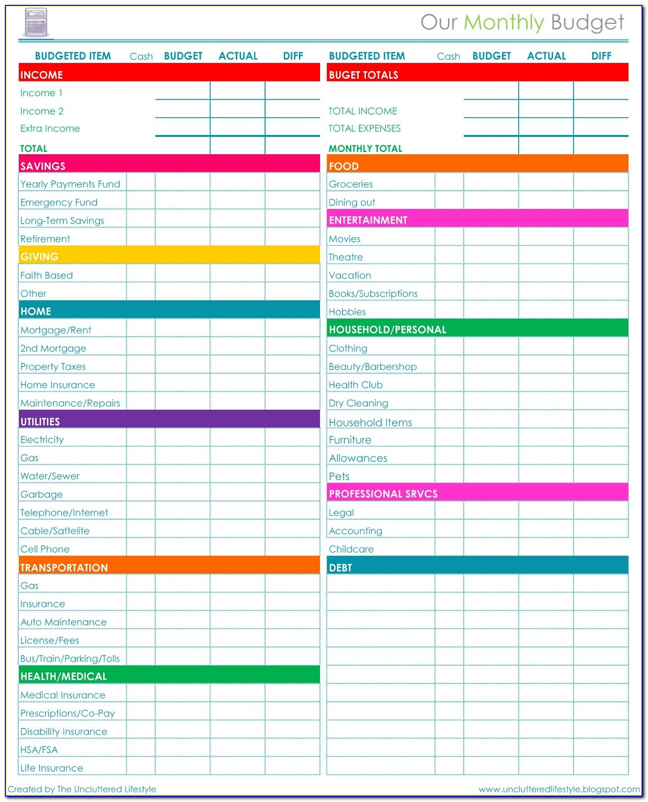 Free Simple Budget Spreadsheet Templates