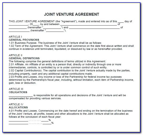 Free Simple Joint Venture Agreement Template