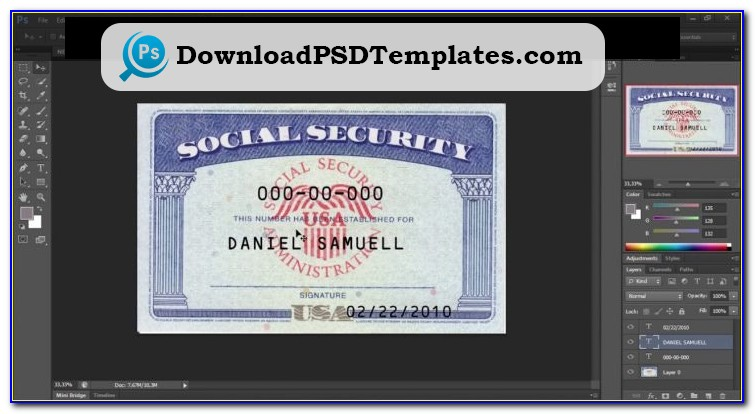Free Social Security Card Psd Template Download