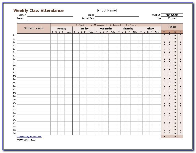 Free Student Attendance Tracker Template