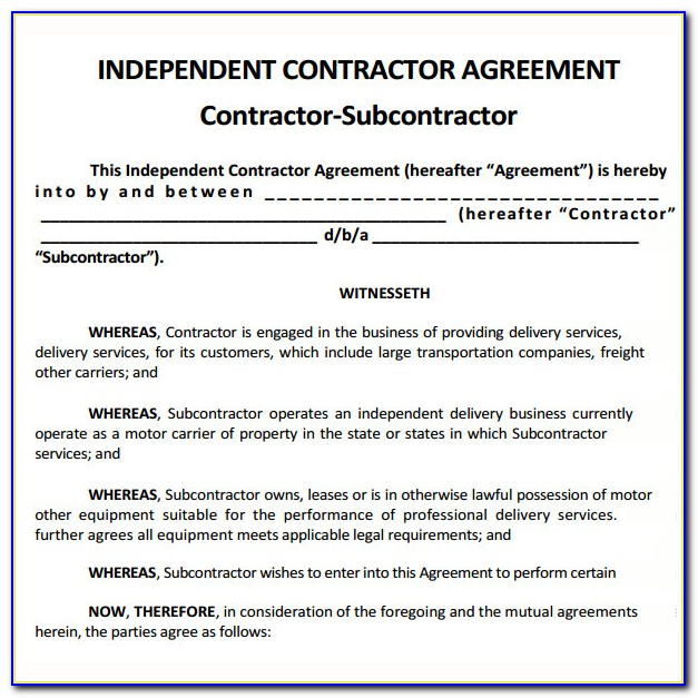 Free Subcontractor Agreement Template Canada