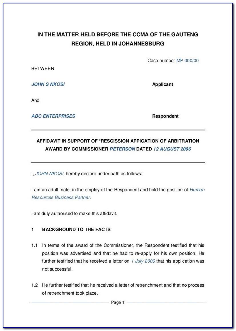 Free Template Of An Affidavit