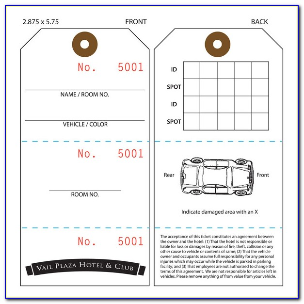 Free Valet Ticket Template
