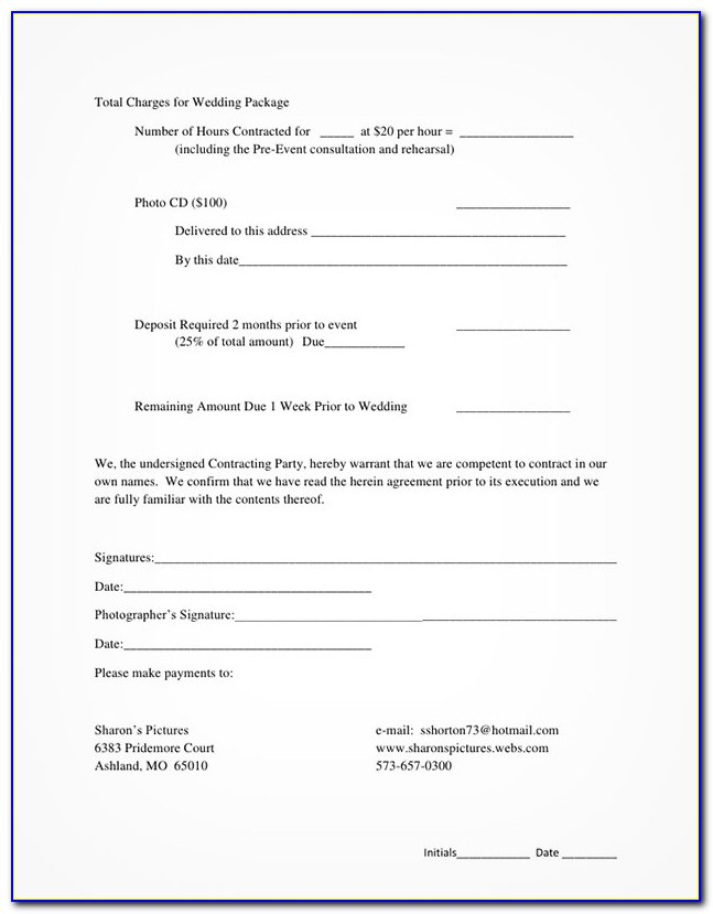 Free Wedding Photographer Contract Template