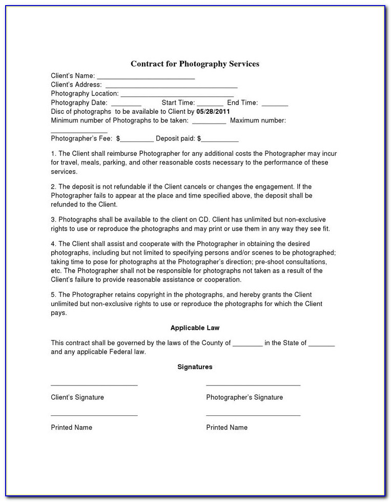 Free Wedding Photography Contract Template Uk