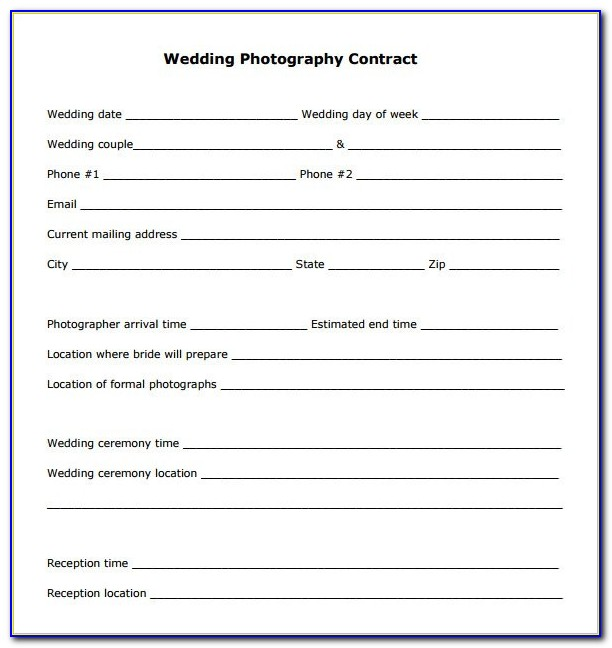 Free Wedding Photography Contract Template Word