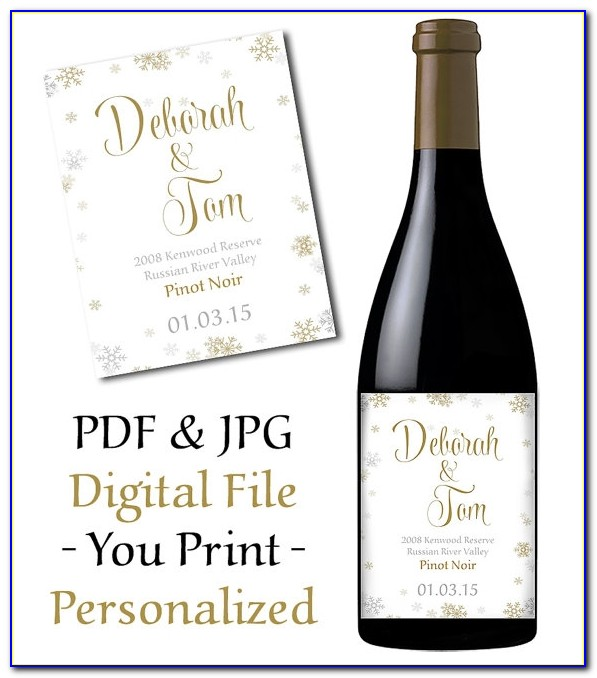 Wedding Wine Bottle Label Printable Snowflake Wedding Wine Labels Template Wedding Wine Labels Template