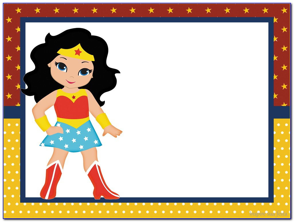 Free Wonder Woman Party Invitation Template