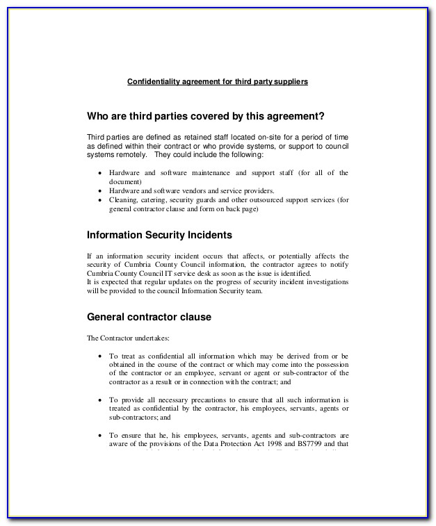 Fsc Outsourcing Agreement Template