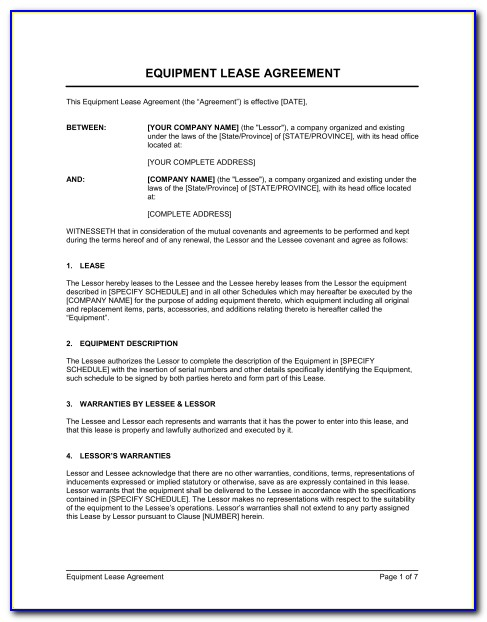 Furniture Rental Agreement Template Word
