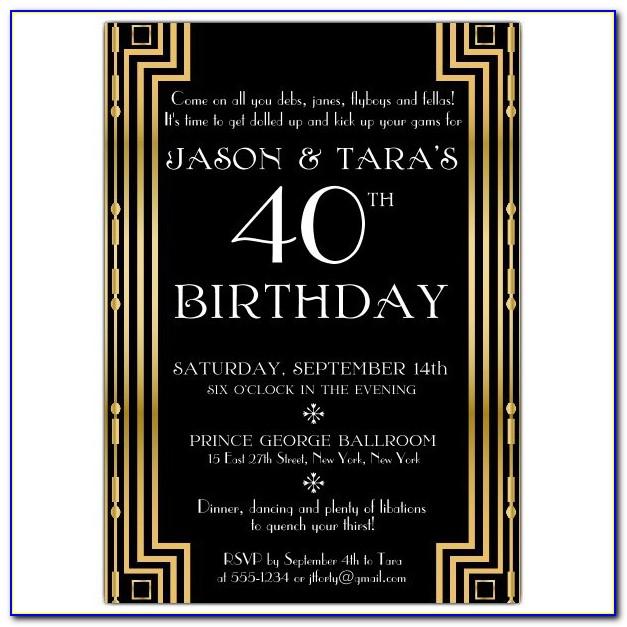 Gatsby Party Invitation Cards