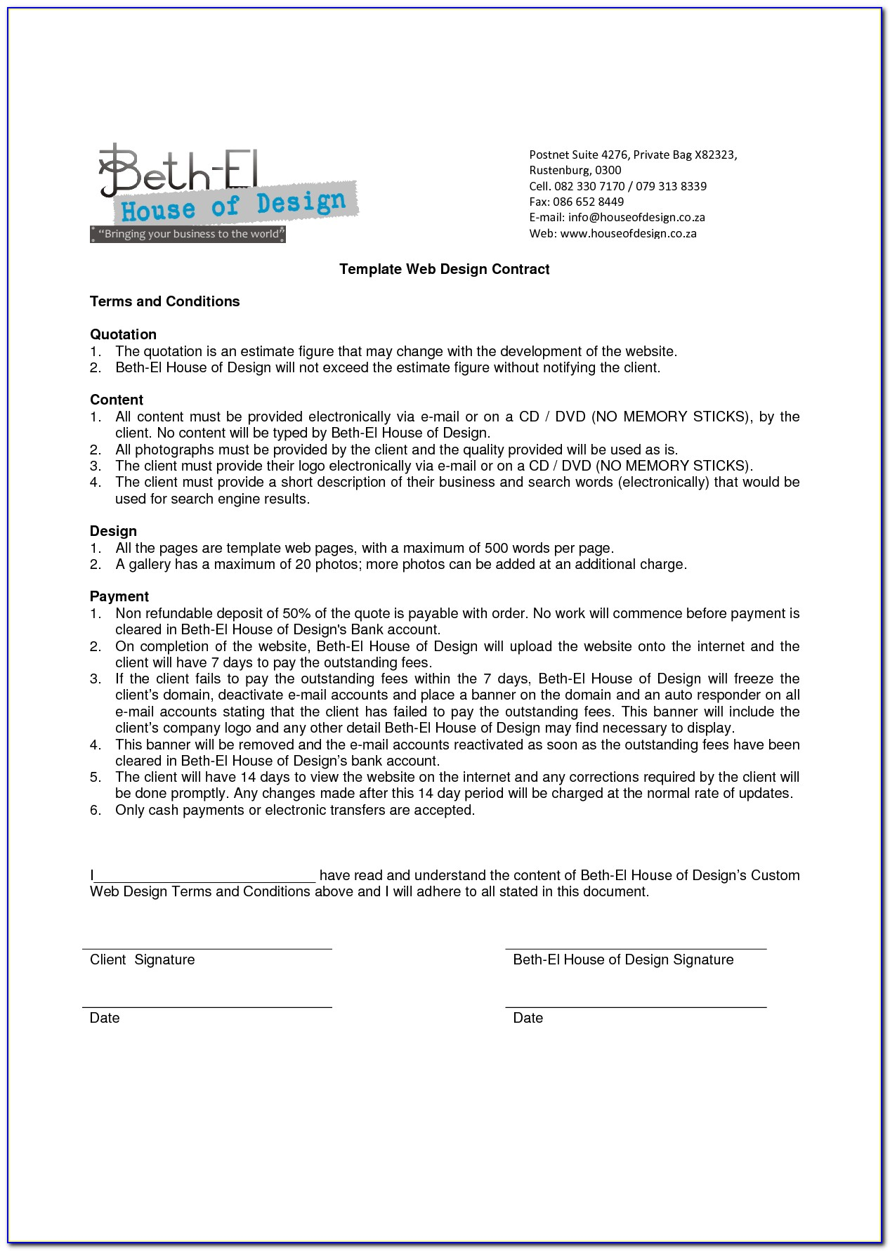 General Terms And Conditions Contract Template
