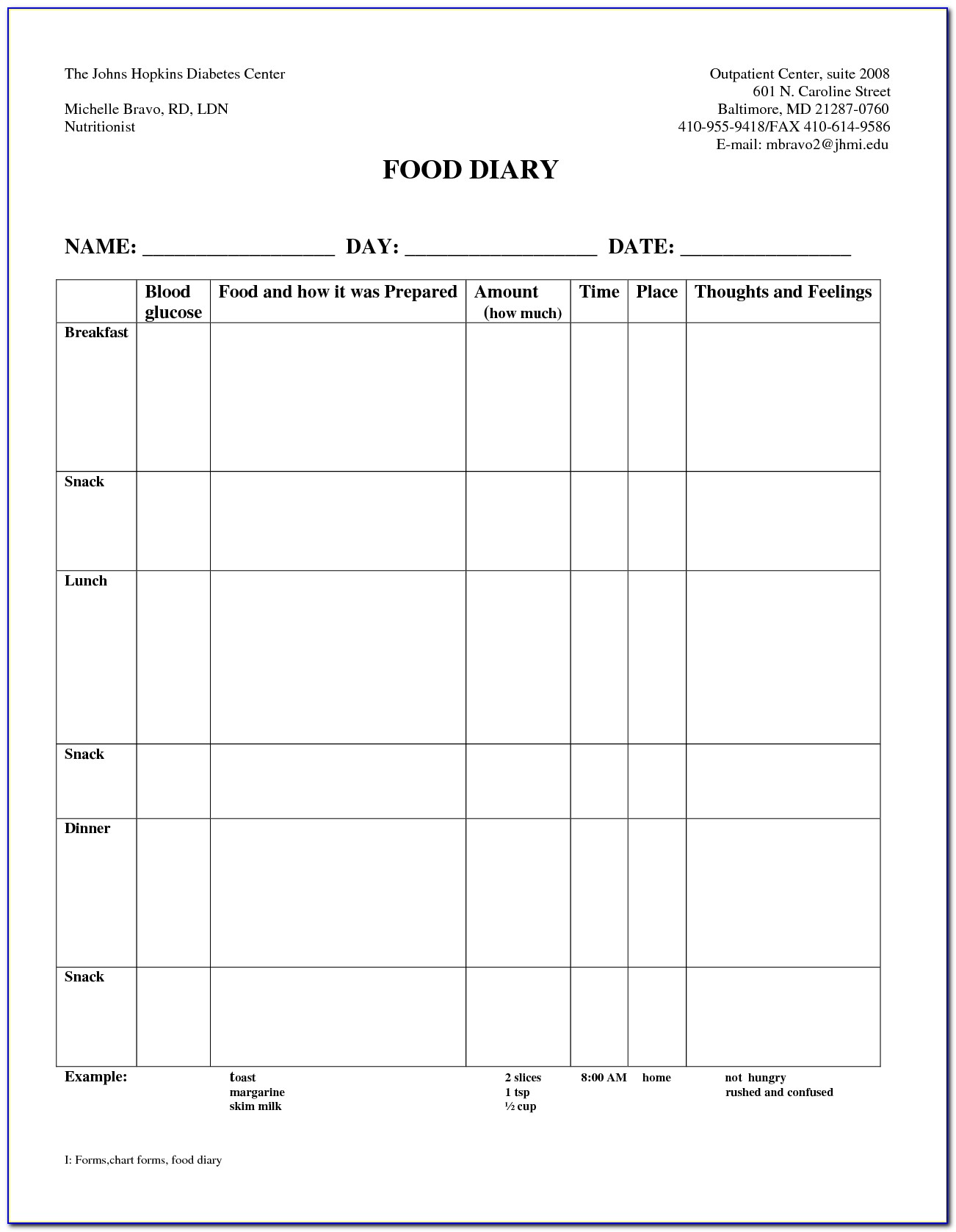 Glucose Diary Template