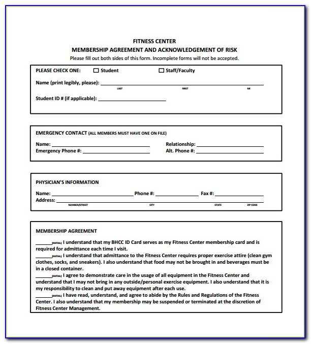 Gym Membership Agreement Template Free