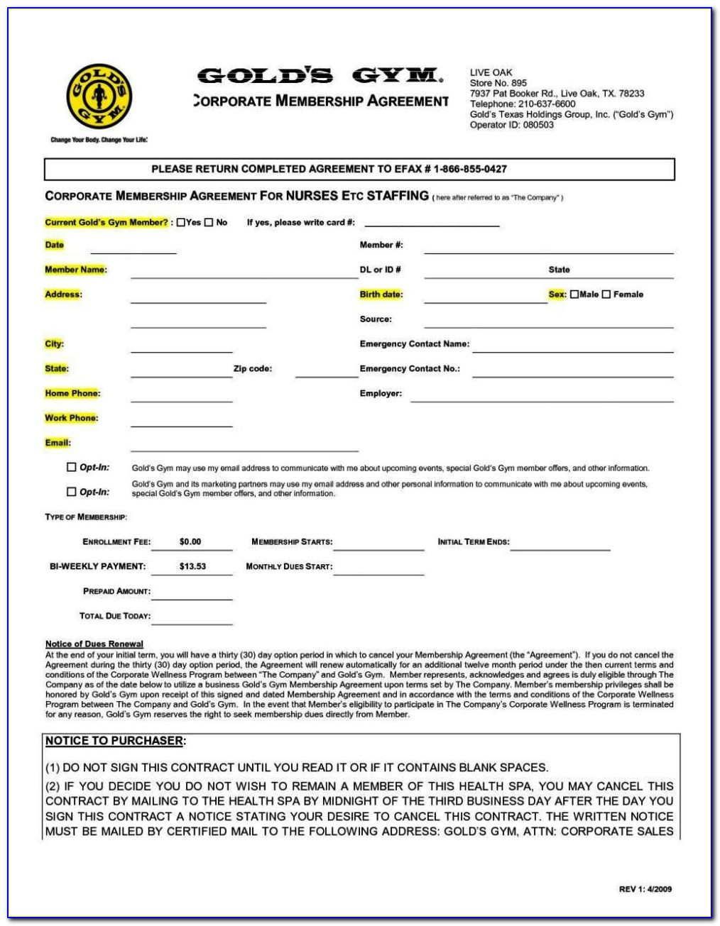 Gym Membership Agreement Template