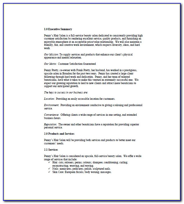 Hair And Beauty Salon Business Plan Template