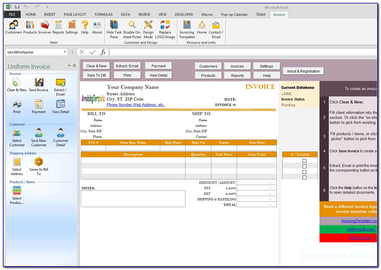 Half Page Invoice Format