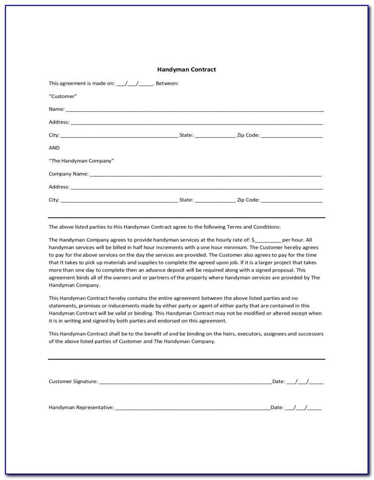 Handyman Agreement Template