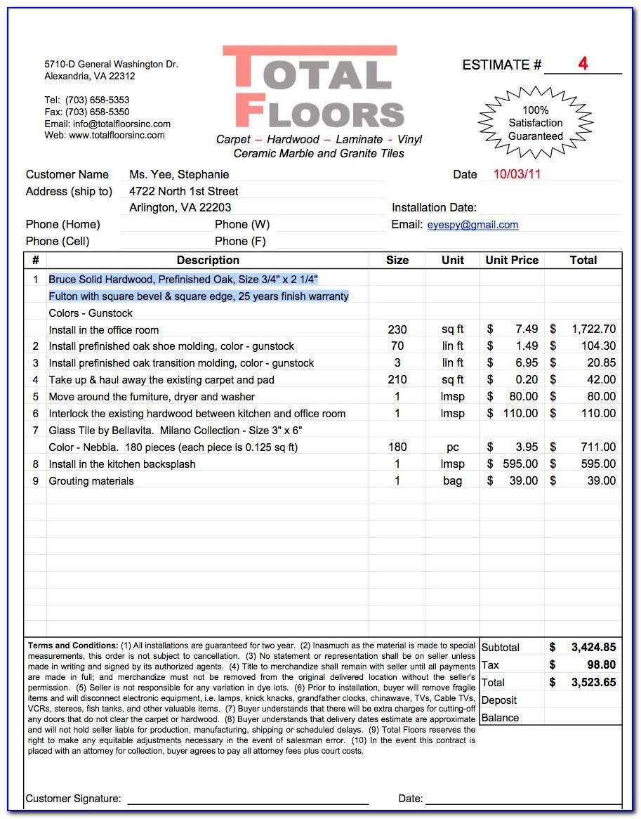 Hardwood Flooring Installation Invoice Template