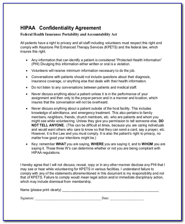 Hipaa Employee Confidentiality Agreement Template