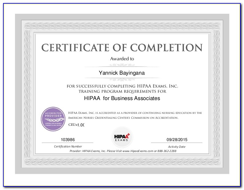 Hipaa Training Certificate Template