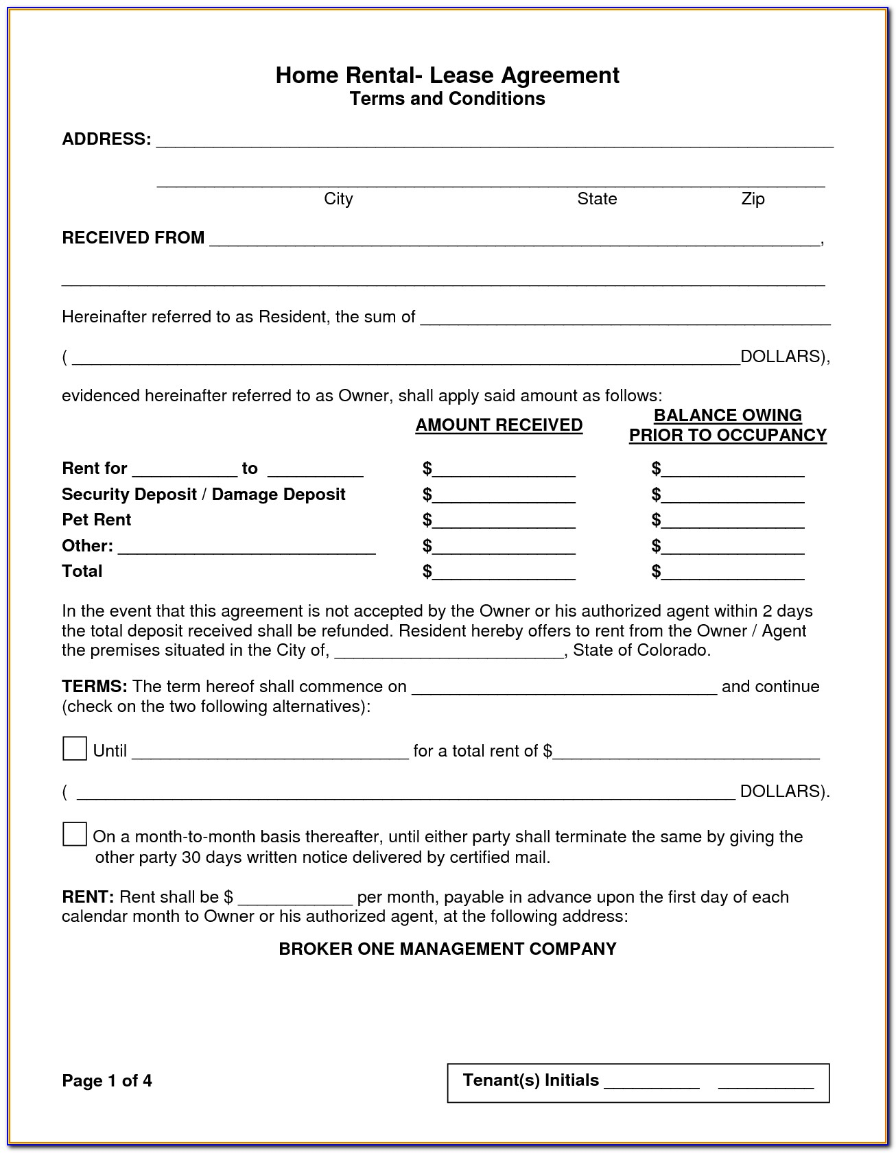 Home Lease Agreement Template Free
