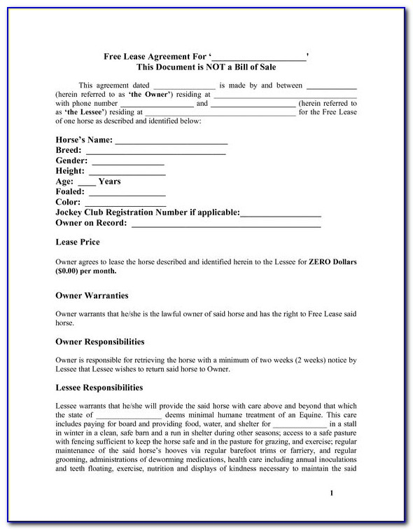 Horse Boarding Agreement Template Ontario