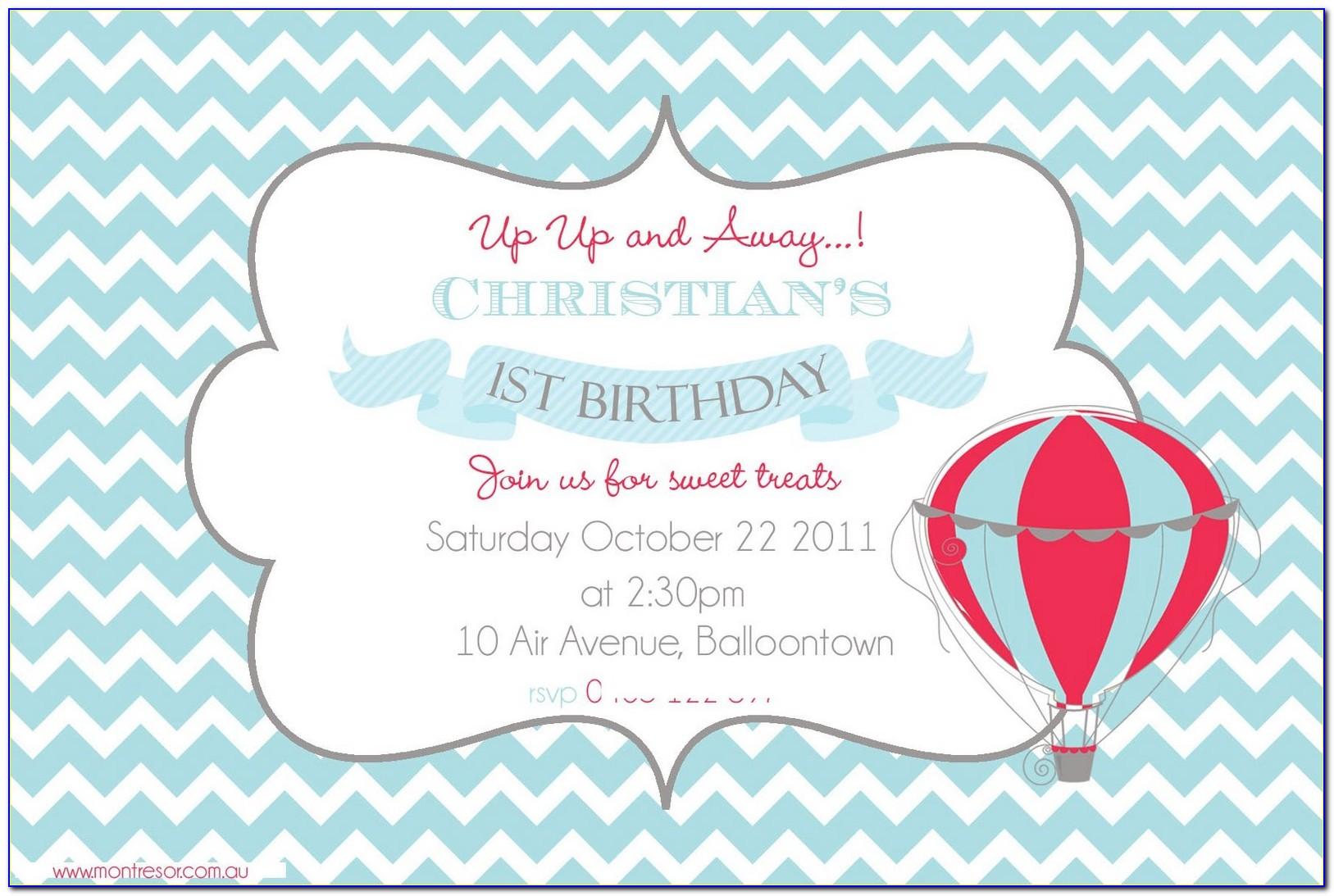 Hot Air Balloon Baby Shower Invitation Template
