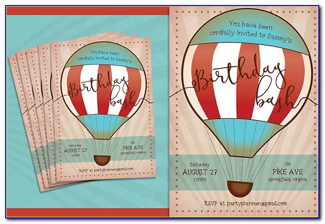 Hot Air Balloon Birthday Invitation Template Free